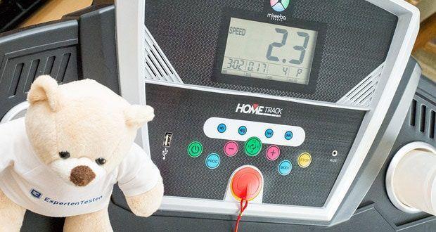 Das elektrische Laufband HT1000F von Miweba Sports für Zuhause verfügt über eine Halterung für Tablet, Smartphone und Co. sowie Aux- und USB-Anschluss
