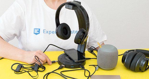 EasyAcc Kopfhörerhalter Headset Halterung im Test - man kann seinen Kopfhörer, seine Tastatur & Maus oder seinen USB-Stick durch die 3 3.0 USB-Ports mit dem Computer anschließen