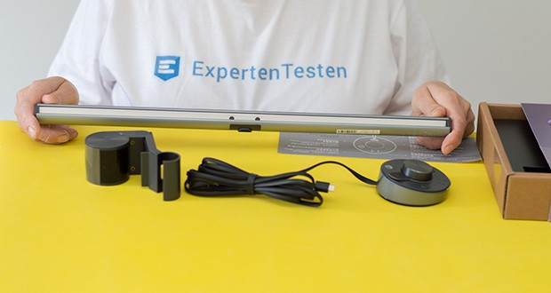 BenQ ScreenBar Plus LED-Monitor-Lampe im Test - verfügt über ein asymmetrisches optisches Design, welches gewährleistet, dass nur der Schreibtisch beleuchtet wird, nicht aber das Display