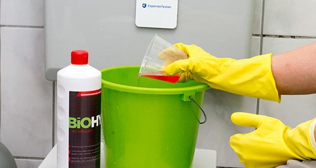 BIOHY WC-Reiniger im Test - Anwendung & Dosierung: Je nach Verschmutzungsgrad 2–4%ig (20–40 ml/Liter kaltes Wasser) verdünnen. Bei stärkeren Verschmutzungen Dosierung erhöhen