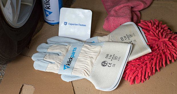 Klickparts Schutzhandschuhe Basic im Test - gummierte Stulpe aus Canvas mit Leder-Pulsschutz