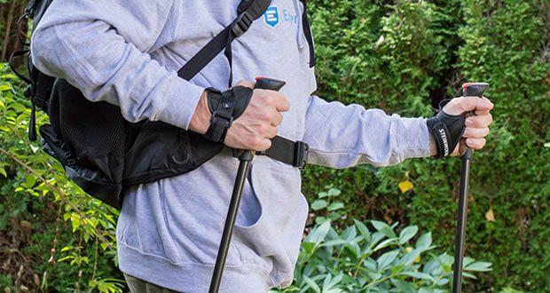 Die Walkingstöcke von Steinwood im Test - das Quick-Lock System aus Aluminium mit Außenklemme ermöglicht eine individuelle Einstellung der Länge entlang der aufgedruckten Zentimeter Skalierung
