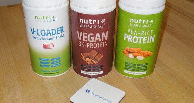 POST WORKOUT Shake V LOADER, PROTEIN PULVER Erbse-Reis - Mandel und PROTEINPULVER VEGAN Schokolade von Nutri-Plus im Test - in Deutschland hergestellt – strengste Qualitätsstandards