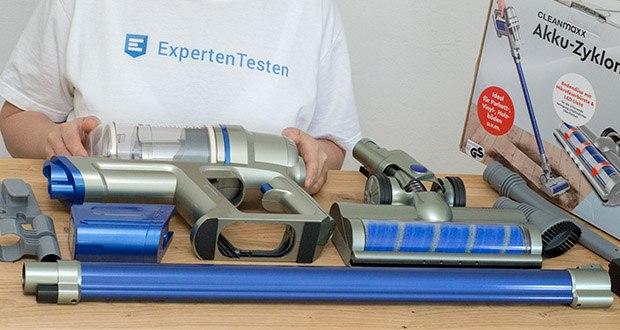 CLEANmaxx Akku-Handstaubsauger Sensitive im Test - Lieferumfang: Set aus: Akku-Zyklon-Staubsauger, Verlängerungsrohr, Mikrofaser-Bodendüse, Polsterdüse, Fugendüse, Zubehörhalterung, Netzadapter, Wandhalterung inkl. Befestigungsmaterial
