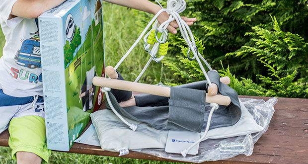 small-foot Babyschaukel Komfort im Test - mit längenverstellbaren Seilen und Schraubkarabinern