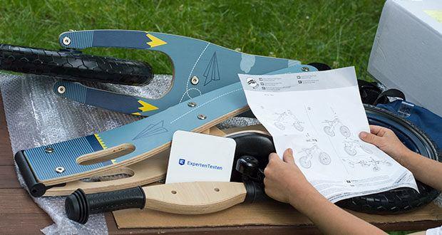 small-foot Laufrad blauer Papierflieger im Test - ausführliche Montageanleitung für den einfachen Aufbau