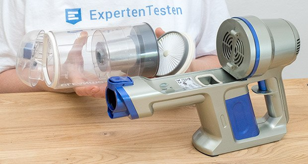 CLEANmaxx Akku-Handstaubsauger Sensitive im Test - Zwei-Kammer-Filtersystem für groben und feinen Schmutz mit Edelstahlfilter