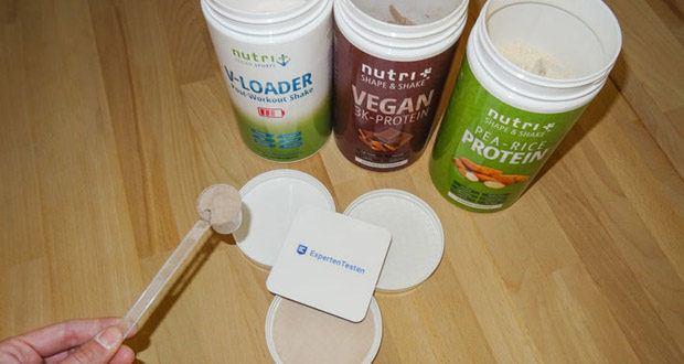 Nutri-Plus POST WORKOUT Shake V LOADER, PROTEIN PULVER Erbse-Reis - Mandel und PROTEINPULVER VEGAN Schokolade im Test