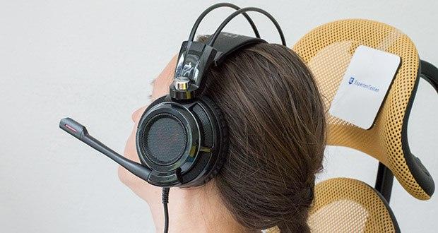 EasyAcc G1 Gaming Headset im Test - angenehme Passform: Der Kopfbügel passt sich optimal der Kopfgröße an ohne einzuengen