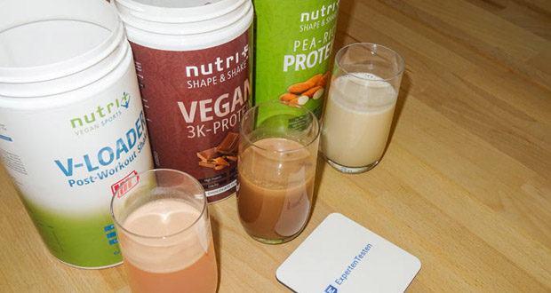 POST WORKOUT Shake V LOADER, PROTEIN PULVER Erbse-Reis - Mandel und PROTEINPULVER VEGAN Schokolade von Nutri-Plus im Test - für die Zunahme und den Erhalt von Muskelmasse