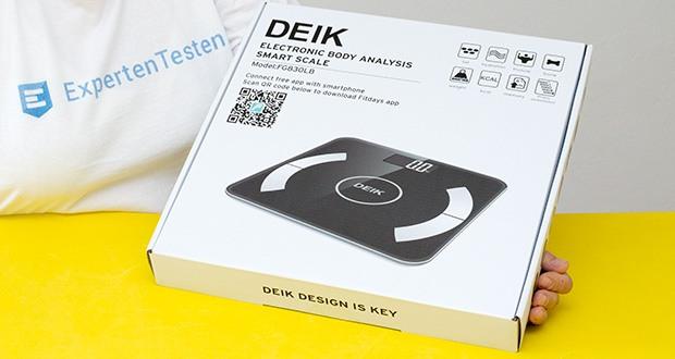 Deik Bluetooth Körperfettwaage im Test - Wägebereich: 6kg / 180kg, Gewichtseinheiten: lb / kg / st, Gewichtsverteilung: 100g