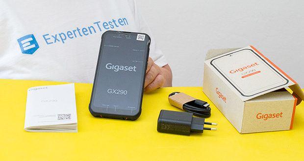 Gigaset Outdoor Smartphone GX290 im Test - Lieferumfang: 1x Gigaset GX290 Smartphone, 1x Ladegerät, 1x SIM-Karten Nadel, 1x USB Typ-C Kabel, 1x Bedienungsanleitung