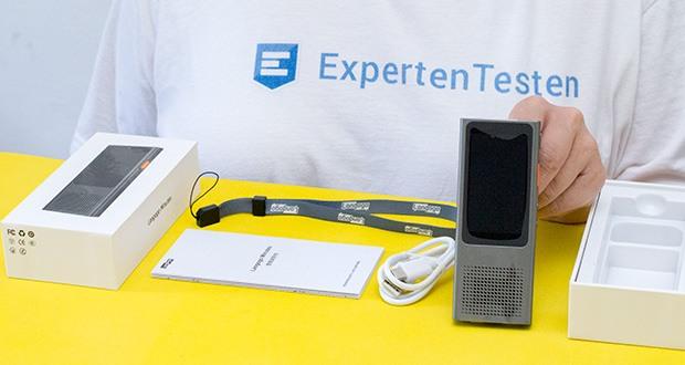 Langogo Minutes Sprachübersetzer und Diktiergerät im Test - Lieferumfang: 1x Langogo Minuten; 1x USB-C Kabel; 1x Schlüsselband; 1x Bedienungsanleitung