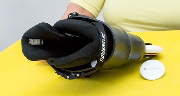 Powerslide Inlineskates Zoom Black 80 im Test - Materialenn - Schale: Glasfaserverstärkter Kunststoff; Schiene: Aluminium 6063; Kugellager: Stahl