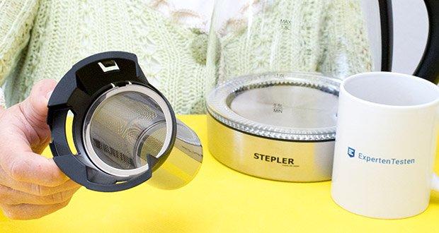 STEPLER LED-Glas-Wasserkocher 1,8 Liter im Test - sowohl Kalkfilter als auch Teesieb sind leicht entnehmbar und spülmaschinengeeignet
