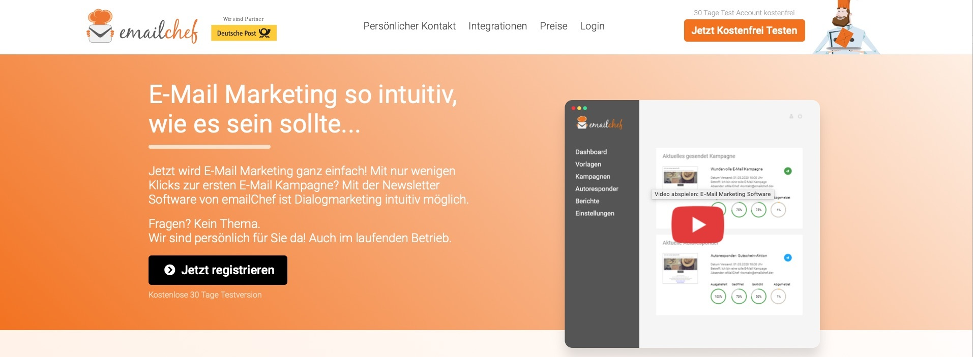 Screenshot der Website von EMailChef