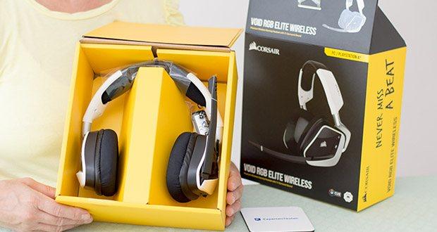 Corsair Void Elite RGB Gaming Headset im Test - das Headset bietet eine Reichweite von bis zu 12 Metern und eine Akkulaufzeit von bis zu 16 Stunden