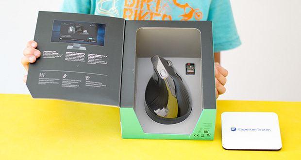 Logitech MX Vertical Bluetooth Maus im Test - der Umschalter für die Cursor-Geschwindigkeit ermöglicht das sofortige Anpassen der DPI-Geschwindigkeit und Genauigkeit mit nur einem einzigen Tastendruck – mit oder ohne Mauspad und sogar beim Gaming