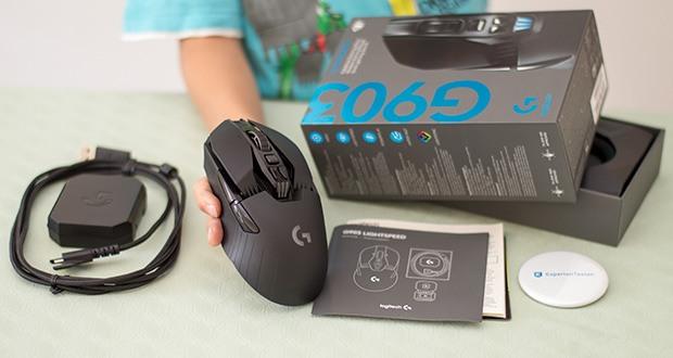 Logitech G903 LIGHTSPEED kabellose Gaming-Maus im Test - komplett mit LIGHTSYNC RGB-Beleuchtung mit einer Farbpalette von 16, 8 Millionen Farben, die direkt auf das Geschehen im Spiel reagiert