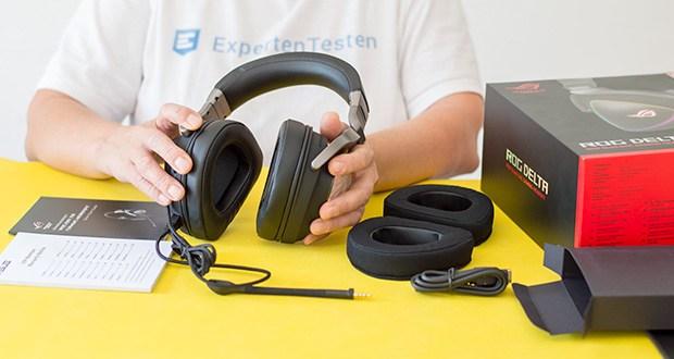 ASUS ROG Delta Gaming Headset im Test - Lieferumfang: Asus ROG Delta, abnehmbares Mikrofon, Ohrpolster, USB-C zu USB 2.0 Adapter, Bedienungsanleitung