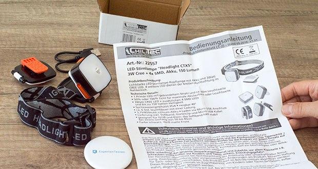 Chilitec LED-Stirnlampe Headlight CTX5 im Test - Betrieb 5V/850mAh Lithium-Akku