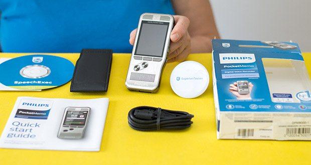 Philips DPM6000 Digitales Diktiergerät im Test - Produktabmessungen: 12.3 x 5.3 x 1.5 cm; Gewicht: 210 g
