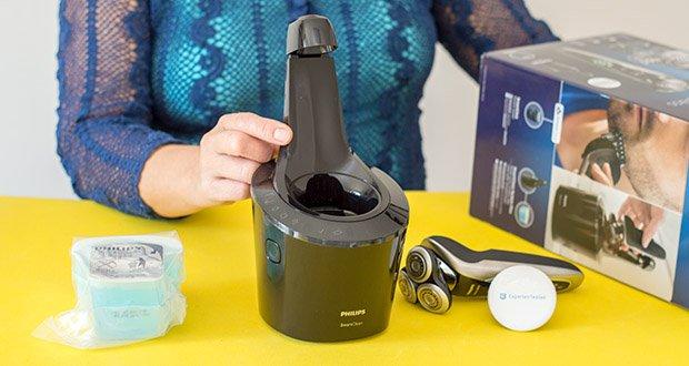 Philips S9711/31 Elektrischer Nass-und Trockenrasierer im Test - Zubehör im Lieferumfang: Reiseetui, Reinigungsstation
