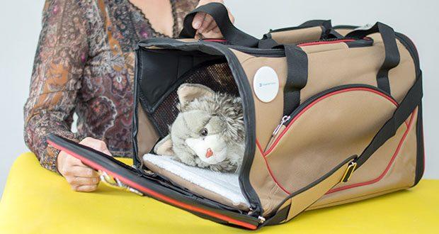 HUNTER KANSAS Tragetasche für Hunde und Katzen im Test - die weiche Matte aus Lammfellimitat kann herausgenommen und gewaschen werden