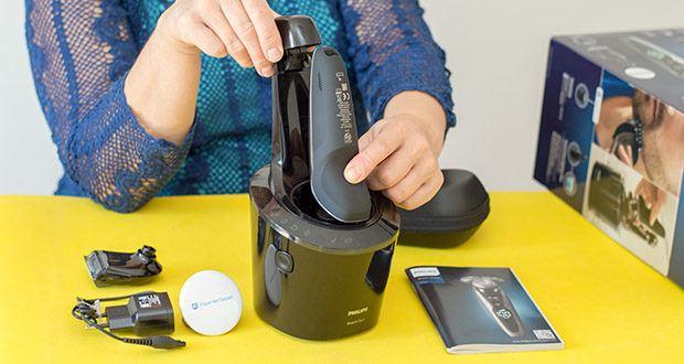 Philips S9711/31 Elektrischer Nass-und Trockenrasierer im Test - einfache Erfassung anliegender Haare dank Multi-Dimensional bewegliche Scherköpfe, die sich jeder Kontur ideal anpassen