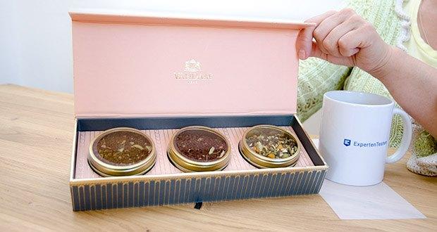 VAHDAM Sortiertes 3 Tee-Geschenkset im Test - ein exklusives Geschenk für Sie mit 3 Gold-Blechcaddies, gefüllt mit preisgekrönten Tees und präsentiert in einer Luxus-Geschenkbox