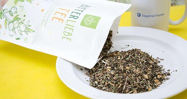 BitterLiebe Tee im Test – enthält ausgewählte, erlesene Bitterkräuter mit einem Hauch Minze und ist sowohl heiß als auch kalt genießbar