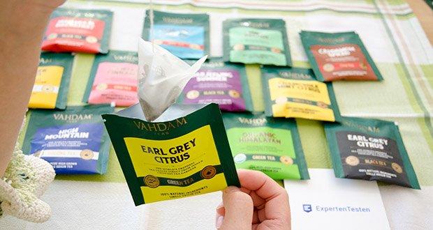 VAHDAM 15 Teesorten Probierset im Test - Earl Grauer Zitrus Grüntee - eine makellose Mischung aus frischen Grüntees aus Darjeeling mit den erhebenden Noten von Bergamottenöl