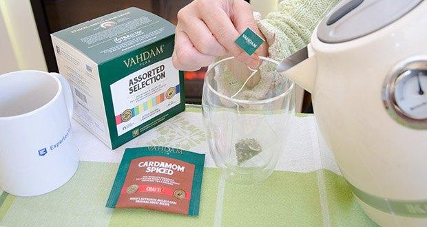 VAHDAM 15 Teesorten Probierset im Test - Kardamom-Masala-Chai-Tee - eine klassische indische Masala Chai-Version eines robusten Assam CTC-Schwarztees, gemischt mit Kardamom-Schoten