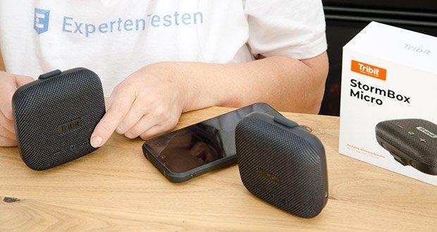 Tribit Stormbox Micro Bluetooth Lautsprecher im Test - die kabellose Stereotechnik ermöglicht es Ihnen, die Stormbox Micro mit einem zweiten Lautsprecher zu koppeln und Ihrer Umgebung noch größeren Klang zu verleihen