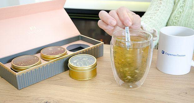 VAHDAM Sortiertes 3 Tee-Geschenkset im Test - idealerweise 3-5 Minuten in gekochtes Wasser eintauchen